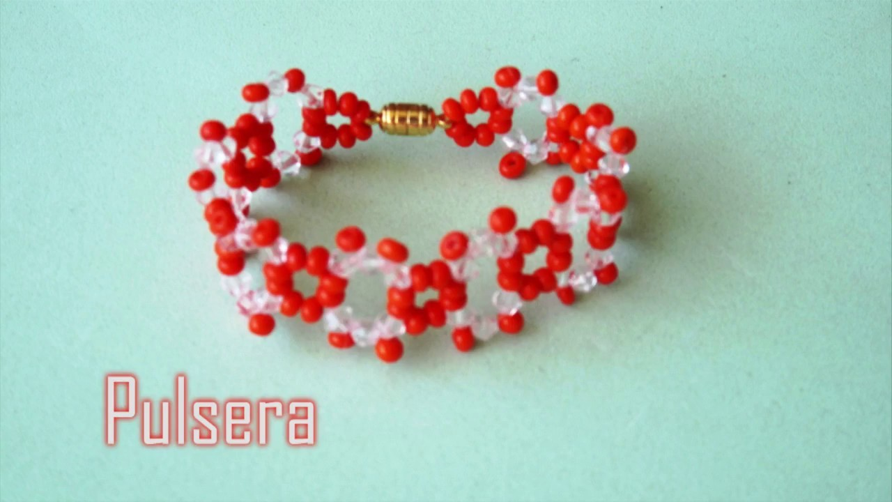 DIY Pulsera muy facil de tupis  y mostacillas Bracelet easy  made of glass and beads