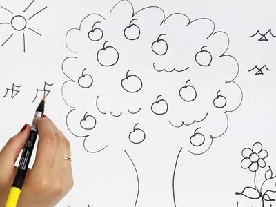 El Árbol de Manzanas | Cómo dibujar y colorear los para niños