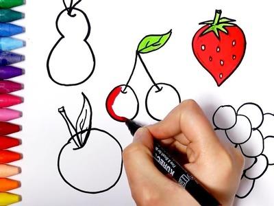 Frutas | Cómo dibujar y colorear los para niños