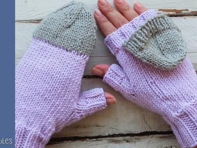 Mitones Convertibles tejidos en dos agujas - Soy Woolly