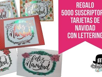 Regalo Descargable Tarjetas De Navidad con lettering y foil