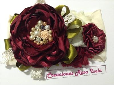 Tiara  flor de tela tinto.beige VIDEO No. 509 creaciones rosa isela