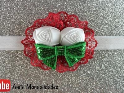 Tiara tricolor de Encaje y Flor Boton
