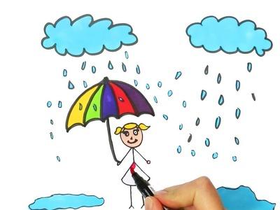 Un Niño Sosteniendo un Paraguas Bajo las Nubes   Cómo dibujar y colorear paso a paso los para niños
