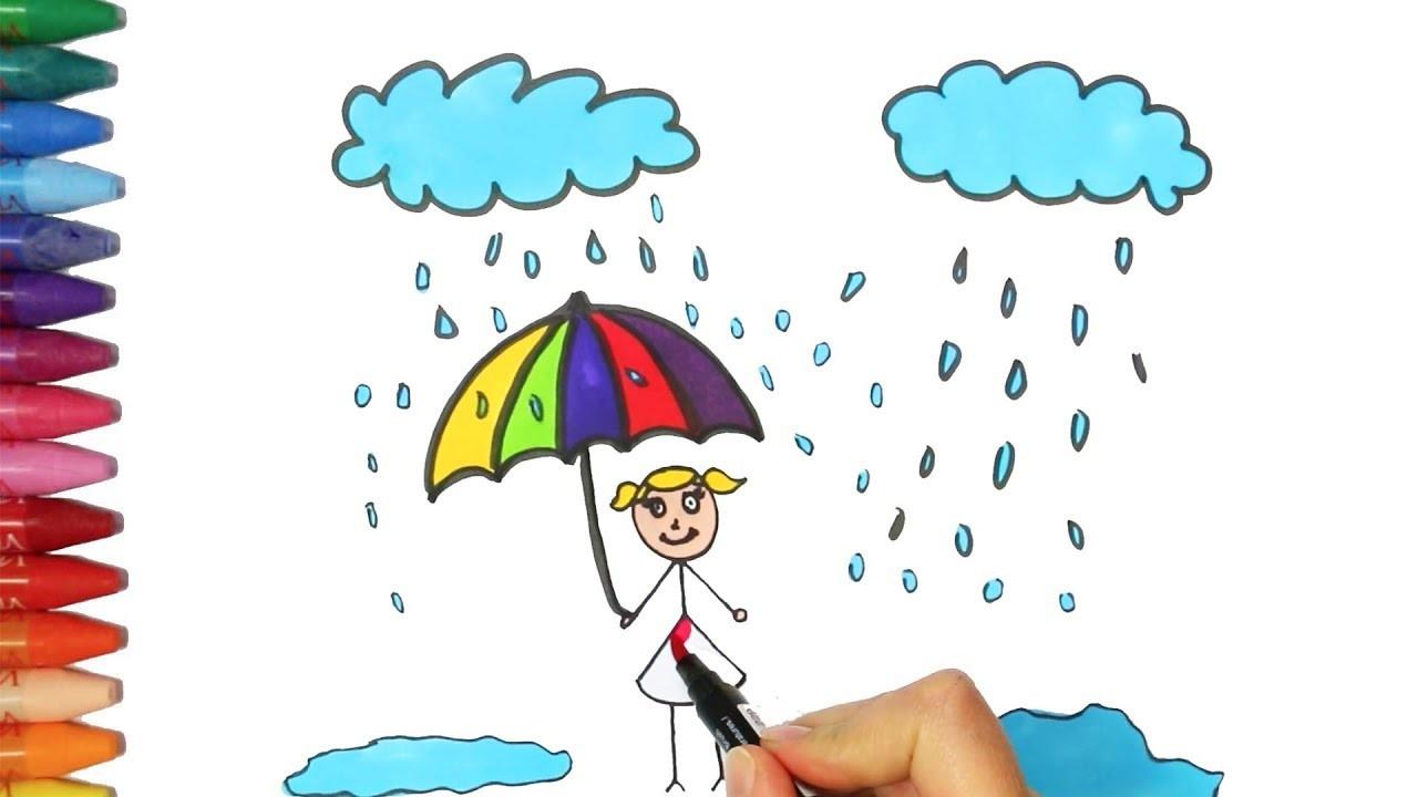 Un Niño Sosteniendo Un Paraguas Bajo Las Nubes Cómo Dibujar Y