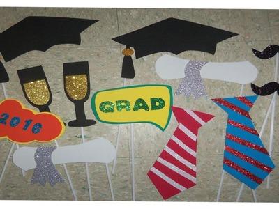 Accesorios Photobooth Graduación. Props de graduación. Moldes Gratis