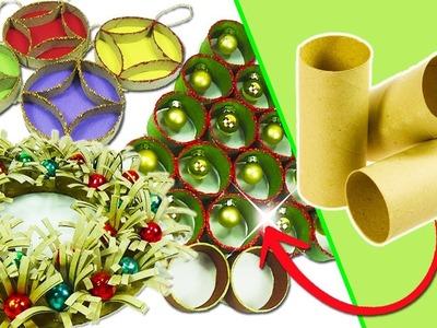 Adornos Navideños con tubos de cartón - 3 Ideas (Reciclaje) Ecobrisa
