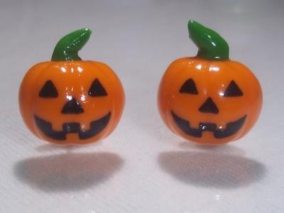 Aretes de calabaza para halloween (porcelana fría)