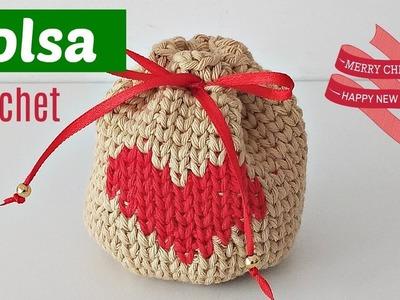 Bolsa de navidad a crochet para regalar