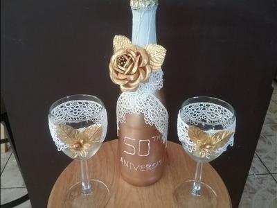 Copas y botella para bodas de oro