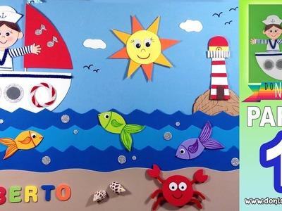 Cuadro infantil marinero de goma eva PARTE 1 DONLUNATIC