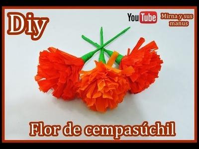 Diy  Flor de Cempasuchil  Dia de Muertos Mirna y sus manus. Cempasuchil Paper Flowers