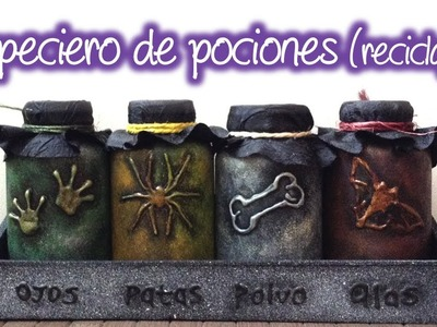 Especiero para pociones de Halloween, Spice rack of potions for Halloween