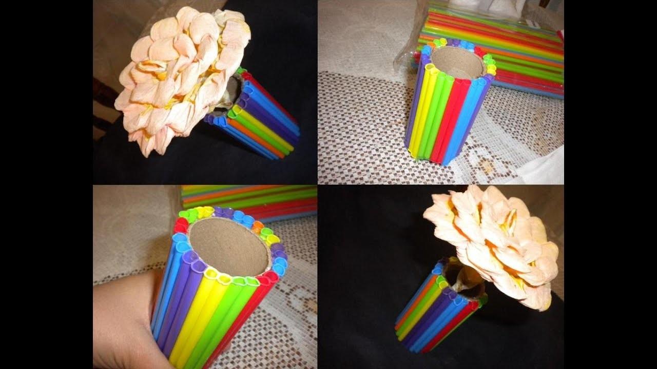 Florero divertido hecho con popotes | Una obra de arte ;) | Házlo fácil y económico | 2015