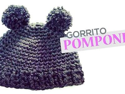 Gorrito con Pompones superfácil a crochet!