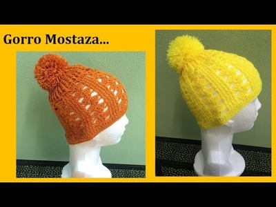 Gorro mostaza a crochet ( juego de la bufanda)