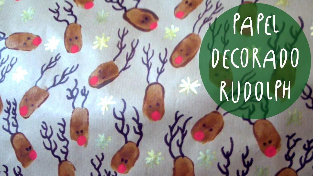 Manualidad  navideña: como decorar PAPEL con RUDOLPH el reno de la nariz roja by ART Tv