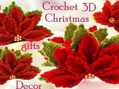 Servilletero  de flores Nochebuena a Crochet en punto 3D tejido tallermanualperu