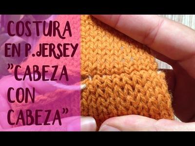 """Unir tejidos: costura """"vertical"""" #2 en punto jersey (dos agujas)"""