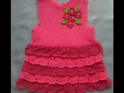 Vestidos sin mangas tejidos a crochet para niñas