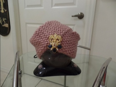 Bella y elegante gorra turbante tejida a crochet