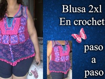 BLUSA 2XL en crochet PASO A PASO 3 de 4