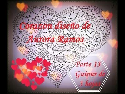Bolillos: Corazon diseño de Aurora Ramos - Parte 13 Flor guipur de 3 hojas