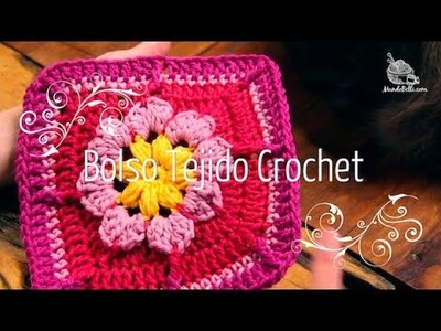 Bolso Crochet con Módulos de Flor Parte 1