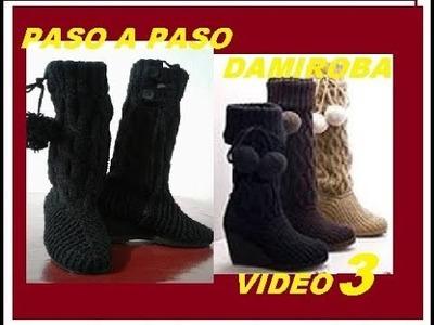 BOTAS CROCHET Y AGUJAS TRENZADAS VIDEO 3