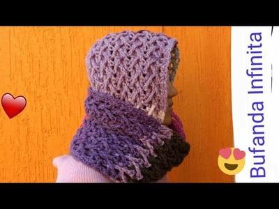 Bufanda a crochet punto cruzado en 3d. Knitting scarf infinity crochet