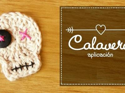 Calavera a crochet (aplicación para Halloween)