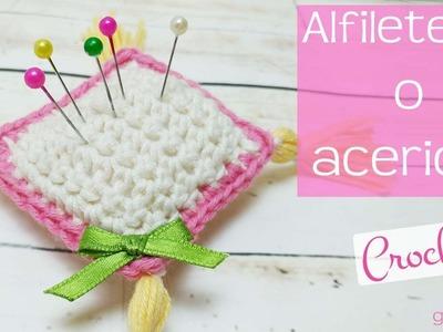 Cojín para agujas y alfileres o alfiletero de ganchillo. Cushion for needles and crochet pins.