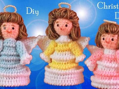 Como hacer ángeles a Crochet Ideas Decoraciones de Navidad tejido tallermanualperu Diy Christmas