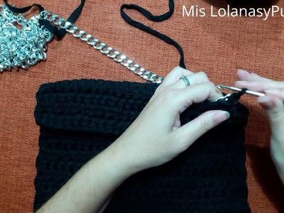 Cómo hacer una cartera de mano a ganchillo con trapillo ligero.