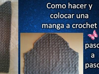 COMO HACER Y PEGAR UNA MANGA en crochet PASO A PASO 2 de 2
