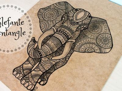 Drawing elephant with zentangle- Dibujando elefante con zentangle