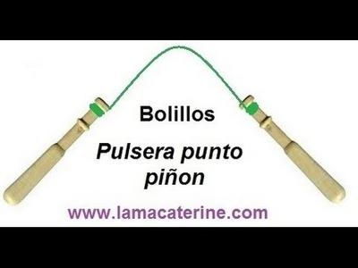 Encaje de Bolillos: Pulsera hecha de punto piñon - 1ª Parte por lamacaterine