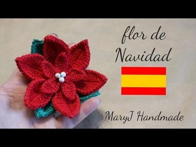 Flor de navidad tejida a crochet | MARYJ HANDMADE