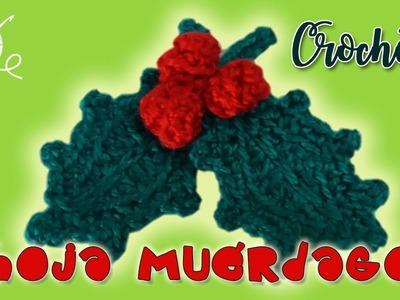 Hoja de muérdago o acebo ⛄ en crochet ❄️❄️