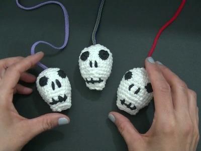 Mini Vídeo CALAVERAS #halloween en tejido crochet o ganchillo tutorial paso a paso. Moda a Crochet