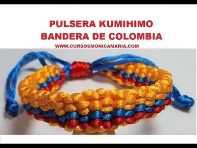 PULSERA KUMIHIMO TRICOLOR. BANDERA COLOMBIA - facil y rapida. Bracelet Colombian Flag