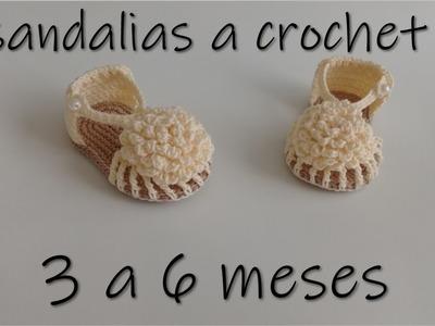 Sandalias para bebe tejidas a crochet -3 a 6 meses