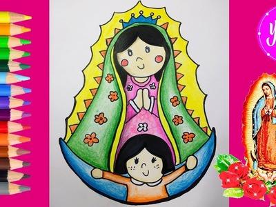 Cómo colorear la virgen de Guadalupe paso a paso dibujos para niños-learns colors-Yaye