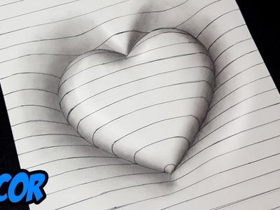Como Dibujar un Corazón en 3D con Lineas - Dibujos 3D Faciles