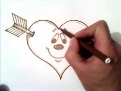 Como dibujar un corazon flechado paso a paso | corazon flechado facil