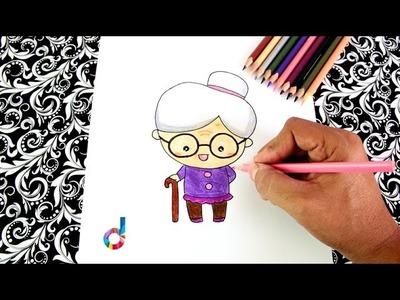 Cómo dibujar una Abuelita (ancianita) paso a paso | How to draw a Granny (old lady)