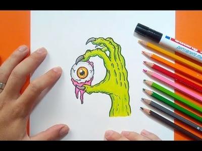 Como dibujar una mano zombie paso a paso | How to draw a zombie hand
