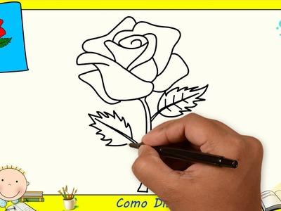 Como dibujar una rosa FACIL paso a paso para niños y principiantes 1
