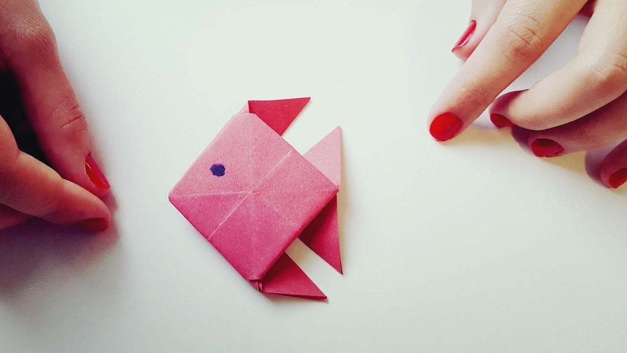 Cómo hacer pez de papel Origami Papiroflexia Muy fácil
