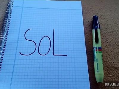 """Como hacer un dibujo con la palabra """"Sol"""".valentina Art"""
